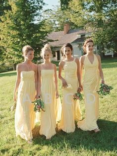 71a8f445d57 Affordable Light Yellow Sweet Heart   Spaghetti Strap   Halter   V-Neck  Long Bridesmaid Dresses