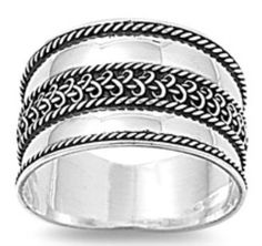 New Style 925 Sterling Silver Classic Bali Design 12 mm Wide Band Ring Size 3-12 #Unbranded