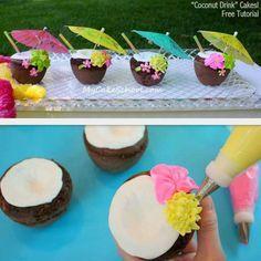 Luau brownies made to look like coconuts