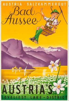 1950s Austria Lake District vintage travel poster