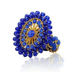 New Arrivals:  Alloy Rhinestone Rings, With Glass Beads, Faux Suede Cord And Iron Findings, Flower, Blue, 20mm, Beads: 20mm  ( Jewelish.com)