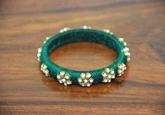 Thin Dark Green Zardozi Bangle – Desically Ethnic   #desi #ethnic #desicallyethnic #shopnow #onlineshopping #bangles #accessories #indian #jewelry #jewelsofindia #pearl
