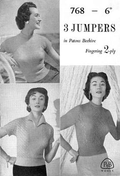 Vintage Ladies Jumper's in Three Styles, Knitting Pattern, (PDF) Pattern, P&B 768 Craft Patterns, Knitting Patterns, Crochet Patterns, Photoshop Program, Baby Shawl, Pattern Pictures, Roll Neck, Jumpers For Women, Vintage Knitting