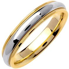 18K Two Tone Gold Center Stripe Womens Comfort Fit Wedding Band 45mm Size65 >>> Click image to review more details.