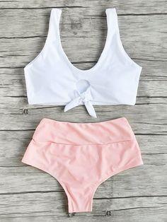 Swimwear by BORNTOWEAR. Two Tone Knot Detail Tankini Set #Tankinis