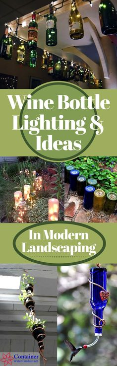 Wine Bottle Lighting & Ideas In Landscaping with pictures and D.I.Y. tips | Used wine bottles for the garden #WineIdeas