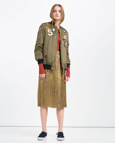 Image 1 of OVERSIZED BOMBER JACKET WITH PATCHES from Zara