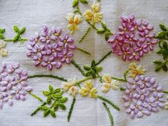 Vintage Hand Embroidered RHODODENDRUM FLORAL