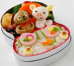 信濃毎日新聞-こぶたと子犬のレストラン弁当 | puppy & piggy eating at a fancy restaurant ~ figures from quail eggs | by Mari Miyazawa @ e-obento