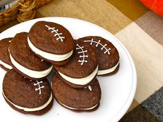 Football Whoopie Pies! Very easy recipe made from a cake mix.