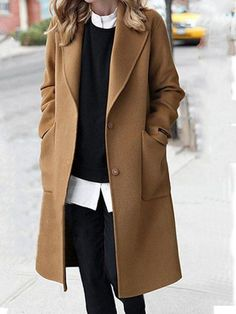 Solid Pockets Lapel Shawl Collar Single-Breasted Winter Lady's Warm Coats Hot Sale! Look Fashion, Winter Fashion, Womens Fashion, Fashion Coat, Ladies Fashion, Fashion Trends, Classic Fall Fashion, Fashion Outfits, Fashion Ideas