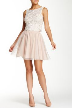 a65bfe96fb84 Lace   Tulle Tank   Skirt Two Piece Set