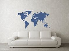 World Map Vinyl Wall Art Decal by CreationsWithVinyl on Etsy