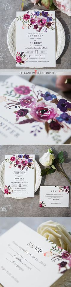 as low as $0.94 spring magenta shades of purple wedding invitations