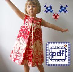 Pleat Dress PDF pattern Sizes 2T-6. $6.49, via Etsy.