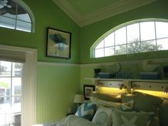 Very pretty and bright colors used through out this small house...