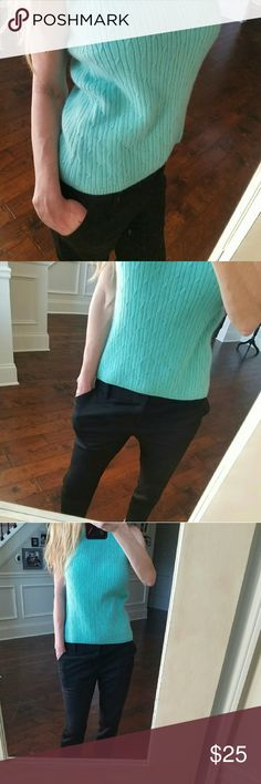 Cashmere Sweater Excellent Condition. The color is really beautiful. Somewhere between Aqua and Robins egg blue. High quality Cashmere. Sweaters Crew & Scoop Necks