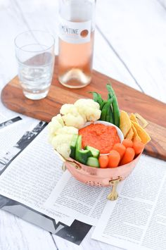 Roasted Red Bell Pepper Hummus + Crudites - Cute Hors d'oeuvres Ideas