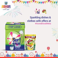 Your home is all clean and shiny, extend that to your clothes and dishes as well with the Surf Excel & Vim bundle pack! #GrandDiwaliMela http://www.granddiwalimela.com/brand-list/gift