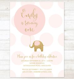 pink gold birthday invitation elephant balloon pink polka dots gold glitter elephant girl birthday party invite printable cute digital by pinkdahliaprintable on Etsy https://www.etsy.com/listing/199976642/pink-gold-birthday-invitation-elephant