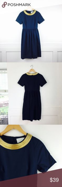 """3.1 Philip Lim dress Philip Lim navy dress with gold necklace applique. Pockets. Back zip. Short sleeves. Raw edges. Size 0. Chest 15.5"""", waist 12.5, length 38"""". In great used condition with a mild discoloration on one side, as shown in the last photo. 3.1 Phillip Lim Dresses"""