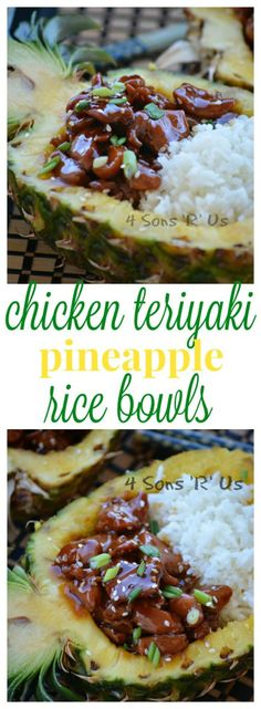 Chicken Teriyaki Pineapple Rice Bowls - 4 Sons 'R' Us Teriyaki Chicken Bowl, Pineapple Chicken Teriyaki, Ginger Chicken, Pineapple Rice, Hawaian Party, Homemade Teriyaki Sauce, Edible Food, Asian, C'est Bon