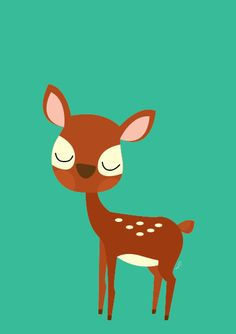 Baby Deer Going For A Walk Poster  Modern Animal by Sealandfriends, $10.50