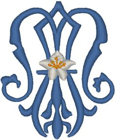 Marian Symbol Embroidery Design.  Beautiful monogram with lily.