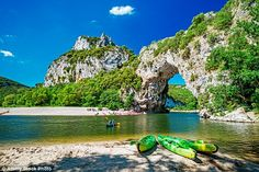 Adventure: The Pont d'Arc, a natural arch, at the start of the Ardeche, where Jo and her f...