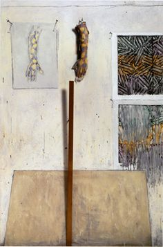 Jasper Johns, IN THE STUDIO (1982). Encaustic and collage on canvas with objects 72 × 48 × 4 in. (182.9 × 121.9 × 10.2 cm). Collection the artist.
