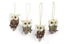 "This family of owls is ready to be perched in your tree. Mix and match them with other woodland ornament sets to create a warm, earthy holiday vibe.Dimensions: Owls measure 2.5"" tall.Details: Made with natural grasses and branches. Includes twine loop for hanging from tree. Set of 4."