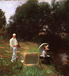 Dennis Miller Bunker Painting at Calcot (1888).John Singer Sargent (American, 1856-1925).Oil on canvas.Terra Museum of American Art, Evanston. Bunker stands back from his own painting with Sargent's sister Violet sitting at the edge of a creek. It is painted in a free style, heavy and unfinished in the impressionists sense. Blacks and browns and muted greens predominate and there is a heavy contrast with the whites in the foreground.