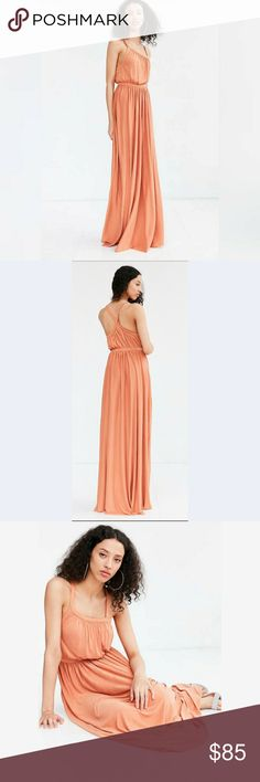 💫 NEW LISTING 💫  Maxi Dress Summer is almost here!! 🕶️⛱️🌞🍨 Look stylish in this one of a kind maxi dress.  Soft stretch curpo knit. Banded waist with asymmetrical apron neck and delicate pleating. Cross strap racerback. Great for a hot day or a day at the park. silence + noise Dresses Maxi