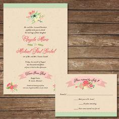 Printable Vintage Floral Wedding Invitation with by BeyondDigital