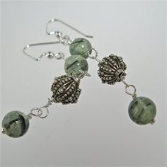 Rutilated Quartz, dark needle inclusions in pale green with Bali silver beads