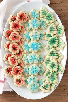Classic Spritz Cookies A Kitchen Addiction, Classic Buttery Spritz Cookies Recipe Add a Pinch, 20 Christmas Cookie Recipes and Creative Wa. Christmas Desserts, Christmas Treats, Holiday Treats, Holiday Recipes, Christmas Recipes, Holiday Foods, Christmas Traditions, Christmas Fun, Holiday Baking