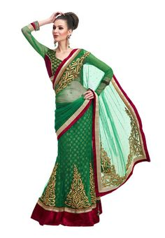 Party Wear Green Colored Net & Viscos Saree With Unstitched Blouse Fabric: Net & Viscos 7781 INR