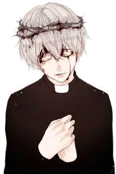 Черное Белые короткие волосы Венок Священник Черная кровь Юноша
