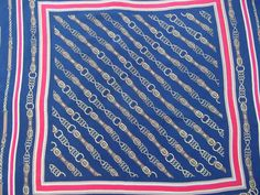 Feliciani vintage scarf equestrian navy blue  red by CHEZELVIRE, $12.00