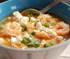 Peruvian Shrimp Chowder - Hispanic Kitchen Love this chowder :)  Makes a lot.  A few changes: I used fish stock instead of making the shrimp stock.  Used Thai Garlic Chili paste in place of the panca chili paste and yellow chili paste ( I couldn't find these ). And used feta cheese at the end.  Great Recipe.