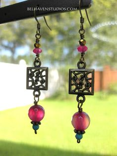 Antique brass plated decorative charm Agate Turquoise howlite Pink Jade Pyrite drop earrings|Gemstones brass earrings| Pink/Turquoise - pinned by pin4etsy.com