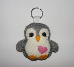 Wool Felt Penguin Keychain, Penguin Keychain, Keyring, Key Holder, Felt Penguin, Gift Bag, Decor, Ornament, Felt Animal, Gray Penguin by NitaFeltThings on Etsy
