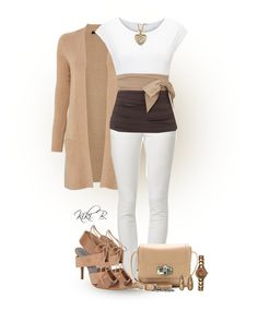 """White and brown"" by kiki-bi ❤ liked on Polyvore featuring Jaeger, LTB, Paule Ka, Lanvin, Alexander Wang and O.W.L"