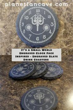 It's a Small World Engraved Clock Face Inspired - Engraved Slate Drink Coaster Set of 4. #disney #disneyworld #disneyland Disney On A Budget, Disney Planning, Disney Home, Disney Secrets, Disney Tips, Disney Magic, Disney Activities, Disneyland Rides, Disney Bedrooms