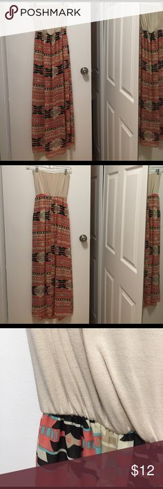 Aztec-print maxi dress Aztec-print maxi dress. Bandeau style top with flowy, sheer skirt. Nude lining that hits mid thigh so skirt is not see through. Never worn. Moa Moa Dresses Maxi