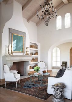 Beautiful mediterranean style rustic living room decor with slipcovered sofa Home Living Room, Living Room Designs, Living Room Decor, Living Spaces, Dining Room, Cottage Living, Mediterranean Living Rooms, Mediterranean Style, Mediterranean Fireplaces