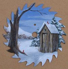 Hand Painted Saw Blade Outhouse Snow Folk Art Americana Cabin Lodge Decor