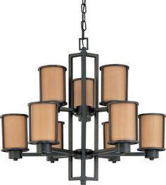 Odeon Energy Star 9 Light Chandelier with Parchment Glass - (9) 13w GU24 Lamps Included by Nuvo Lighting - 60-3829