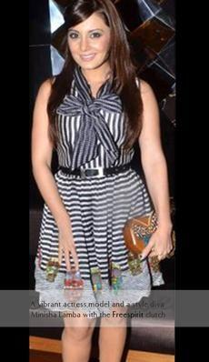 Minisha Lamba- Indian actor carries the Rachana Reddy 'Freespirit' bag   #minishalamba #rachanareddy #wood #woodenclutch #clutch #fashion #accessory #madeinindia  #butterfly #india #bollywood #celeb #actor  Shop here: www.rachanareddy.com Free Spirit, Carry On, Peplum Dress, Bollywood, Butterfly, Celebs, Indian, Actors, Bag