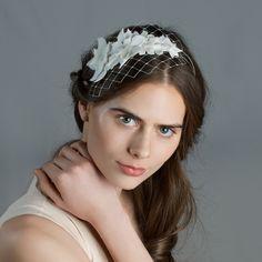 Cappellino Millinery -Victoria velvet flower headband with short birdcage veilVictoria